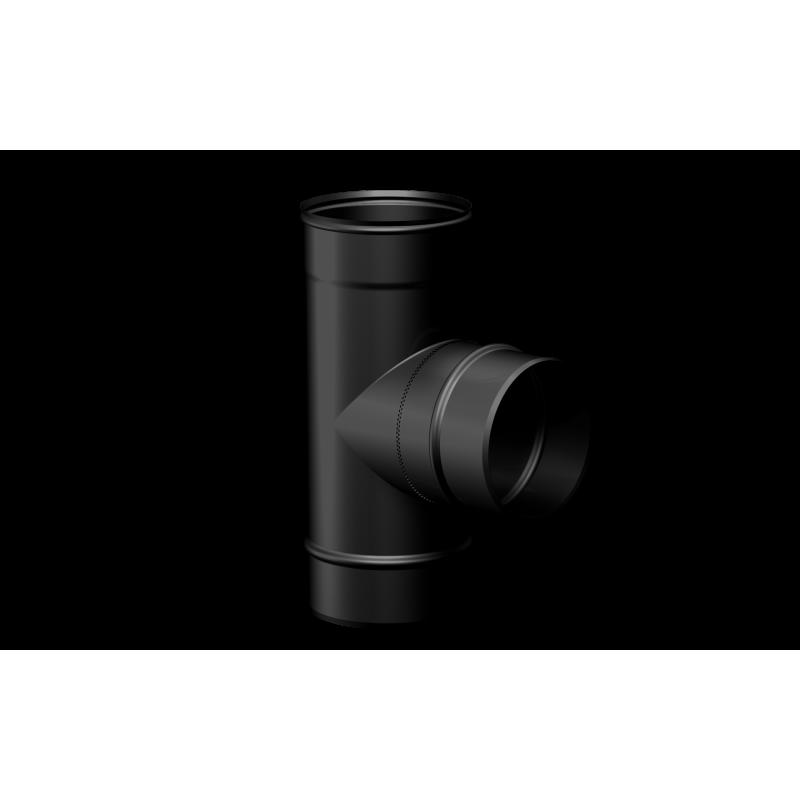 Pelletkachel rookkanaal zwart RVS, Ø80mm premium line, T-stuk 90° vrouwelijk