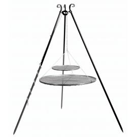 CookKing Driepoot 180cm met dubbel stalen Grillrooster Ø 70cm + 40cm