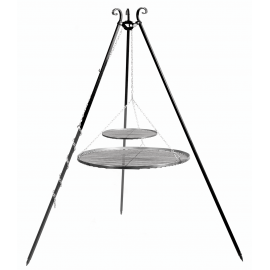 CookKing Driepoot 180cm met dubbel stalen Grillrooster Ø 80cm + 40cm