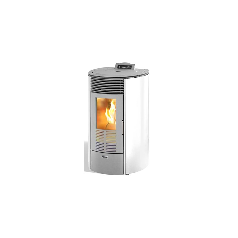 Pelletkachel Qlima Ronda 80 Glass White (8kW) - Kachelkopen.shop